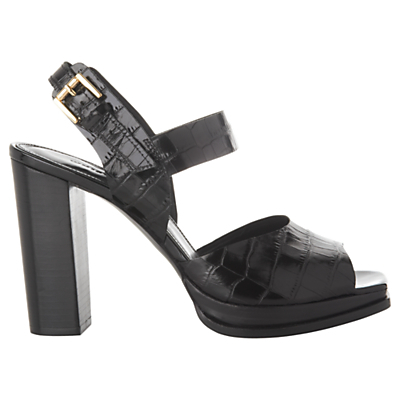 Laxo Block Heeled Sandals - predominant colour: black; occasions: evening, creative work; material: leather; heel: block; toe: open toe/peeptoe; style: standard; finish: patent; pattern: animal print; heel height: very high; shoe detail: platform; season: s/s 2016; wardrobe: highlight