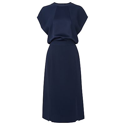 Kelly Cut Out Dress, Navy - style: shift; length: below the knee; neckline: round neck; pattern: plain; predominant colour: navy; occasions: evening; fit: soft a-line; fibres: polyester/polyamide - mix; sleeve length: short sleeve; sleeve style: standard; texture group: crepes; pattern type: fabric; season: s/s 2016; wardrobe: event