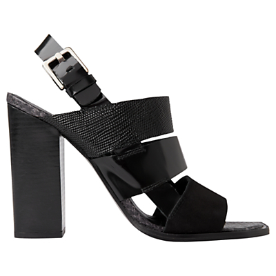 Voe High Block Heel Sandals, Black - predominant colour: black; occasions: evening; material: leather; ankle detail: ankle strap; heel: block; toe: open toe/peeptoe; style: standard; finish: plain; pattern: plain; heel height: very high; season: s/s 2016; wardrobe: event