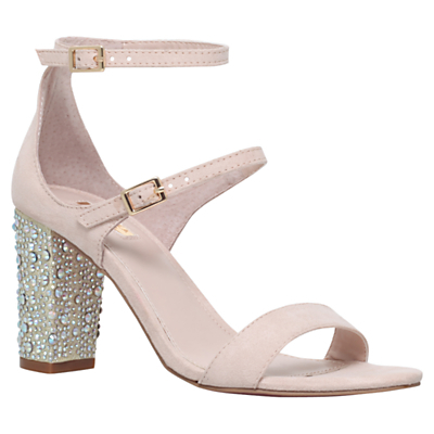 Geisha Double Strap Studded Mid Heel Sandals - predominant colour: blush; occasions: evening, occasion; material: faux leather; heel height: high; embellishment: jewels/stone; ankle detail: ankle strap; heel: block; toe: open toe/peeptoe; style: standard; finish: plain; pattern: plain; season: s/s 2016; wardrobe: event