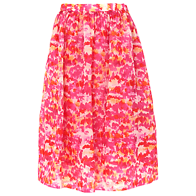 Watercolour Silk Organza Skirt, Pink/Multi - fit: loose/voluminous; waist: high rise; predominant colour: hot pink; secondary colour: coral; occasions: casual, creative work; length: on the knee; style: a-line; fibres: silk - 100%; texture group: crepes; pattern type: fabric; pattern: patterned/print; season: s/s 2016; wardrobe: highlight