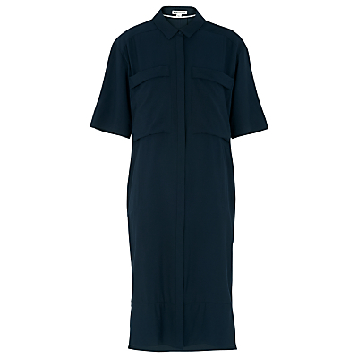 Longline Shirt Dress, Navy - style: shirt; length: below the knee; neckline: shirt collar/peter pan/zip with opening; pattern: plain; predominant colour: navy; occasions: casual, creative work; fit: body skimming; fibres: silk - mix; sleeve length: half sleeve; sleeve style: standard; bust detail: bulky details at bust; pattern type: fabric; texture group: other - light to midweight; season: s/s 2016; wardrobe: basic