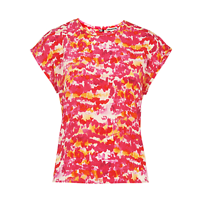Watercolour Print Silk Top, Pink/Multi - sleeve style: capped; style: t-shirt; predominant colour: hot pink; secondary colour: yellow; occasions: casual, creative work; length: standard; fibres: silk - 100%; fit: straight cut; neckline: crew; sleeve length: short sleeve; texture group: silky - light; pattern type: fabric; pattern: patterned/print; multicoloured: multicoloured; season: s/s 2016; wardrobe: highlight
