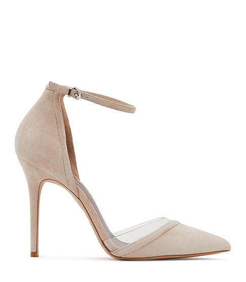 Gaia Suede And Vinyl Shoes - predominant colour: blush; occasions: evening, occasion; material: suede; ankle detail: ankle strap; heel: stiletto; toe: pointed toe; style: courts; finish: plain; pattern: plain; heel height: very high; season: s/s 2016; wardrobe: event
