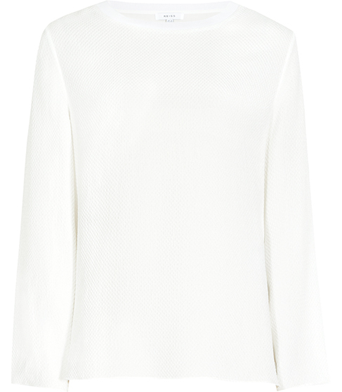 Yasmin Textured Long Sleeved Top - pattern: plain; predominant colour: ivory/cream; occasions: casual; length: standard; style: top; fibres: silk - mix; fit: body skimming; neckline: crew; sleeve length: long sleeve; sleeve style: standard; pattern type: fabric; texture group: jersey - stretchy/drapey; season: s/s 2016; wardrobe: basic