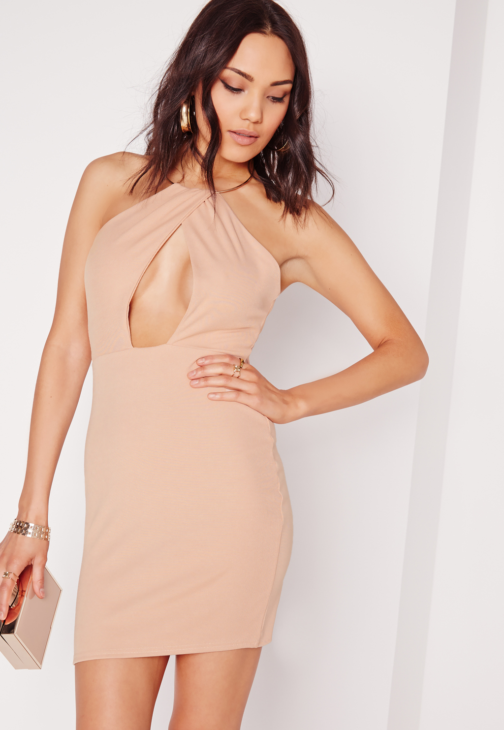Gold Hoop Bodycon Dress Nude, Beige - length: mini; fit: tight; pattern: plain; sleeve style: sleeveless; style: bodycon; predominant colour: nude; occasions: evening; fibres: polyester/polyamide - 100%; sleeve length: sleeveless; texture group: jersey - clingy; pattern type: fabric; season: s/s 2016; neckline: high halter neck