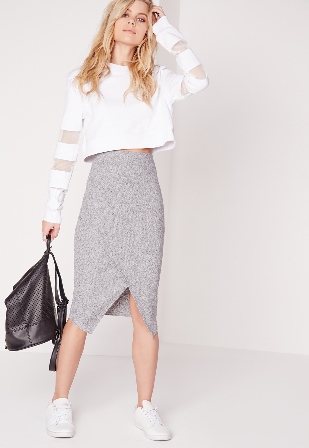Wrap Midi Skirt Grey Marl, Grey - length: below the knee; fit: tight; waist: high rise; hip detail: draws attention to hips; predominant colour: charcoal; occasions: casual; fibres: polyester/polyamide - stretch; style: tube; texture group: jersey - clingy; pattern type: fabric; pattern: marl; season: s/s 2016; wardrobe: basic