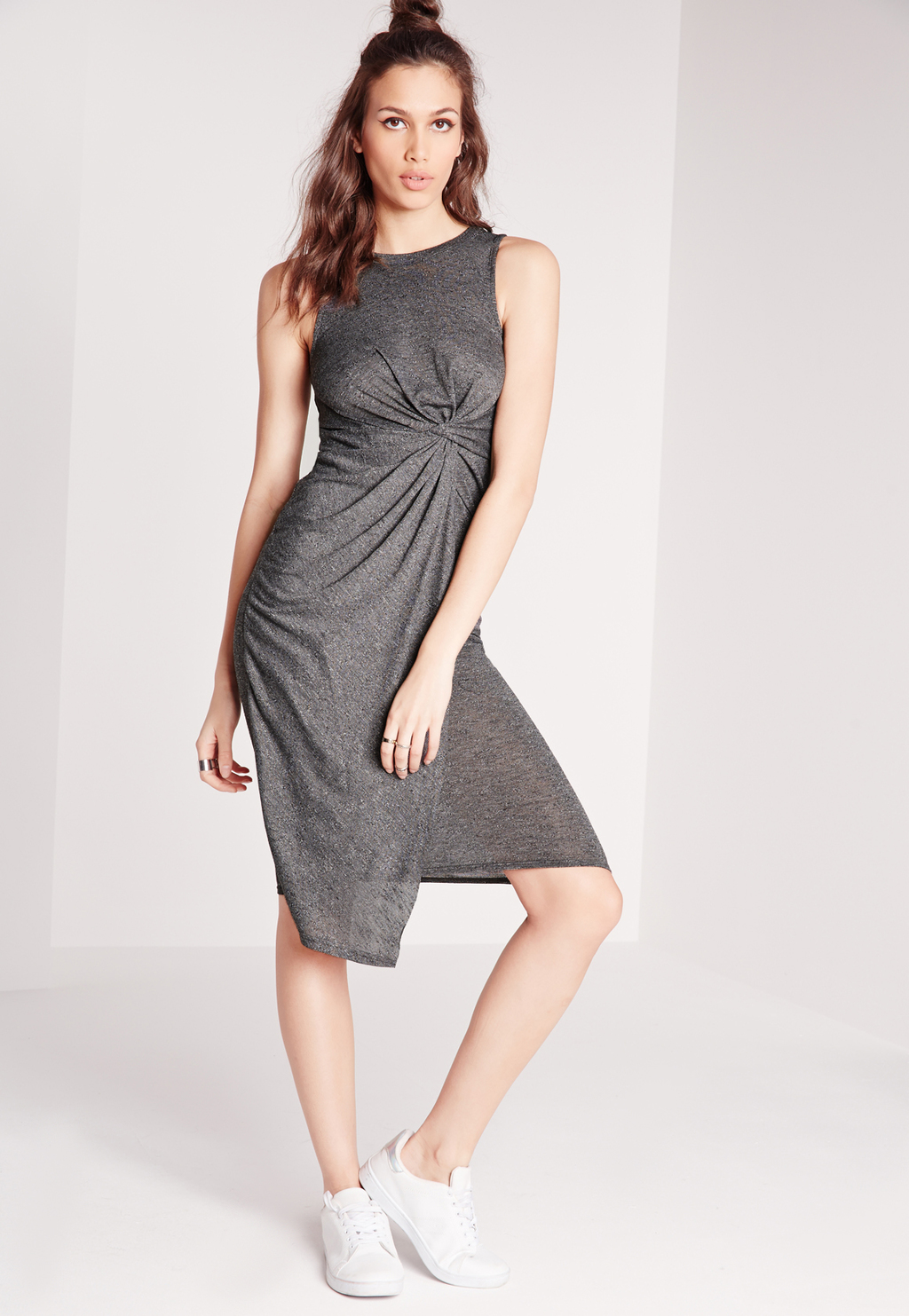 Knot Front Wrap Midi Dress Grey, Grey - style: shift; pattern: plain; sleeve style: sleeveless; waist detail: twist front waist detail/nipped in at waist on one side/soft pleats/draping/ruching/gathering waist detail; predominant colour: mid grey; occasions: casual; length: on the knee; fit: body skimming; fibres: viscose/rayon - stretch; neckline: crew; sleeve length: sleeveless; pattern type: fabric; texture group: jersey - stretchy/drapey; season: s/s 2016