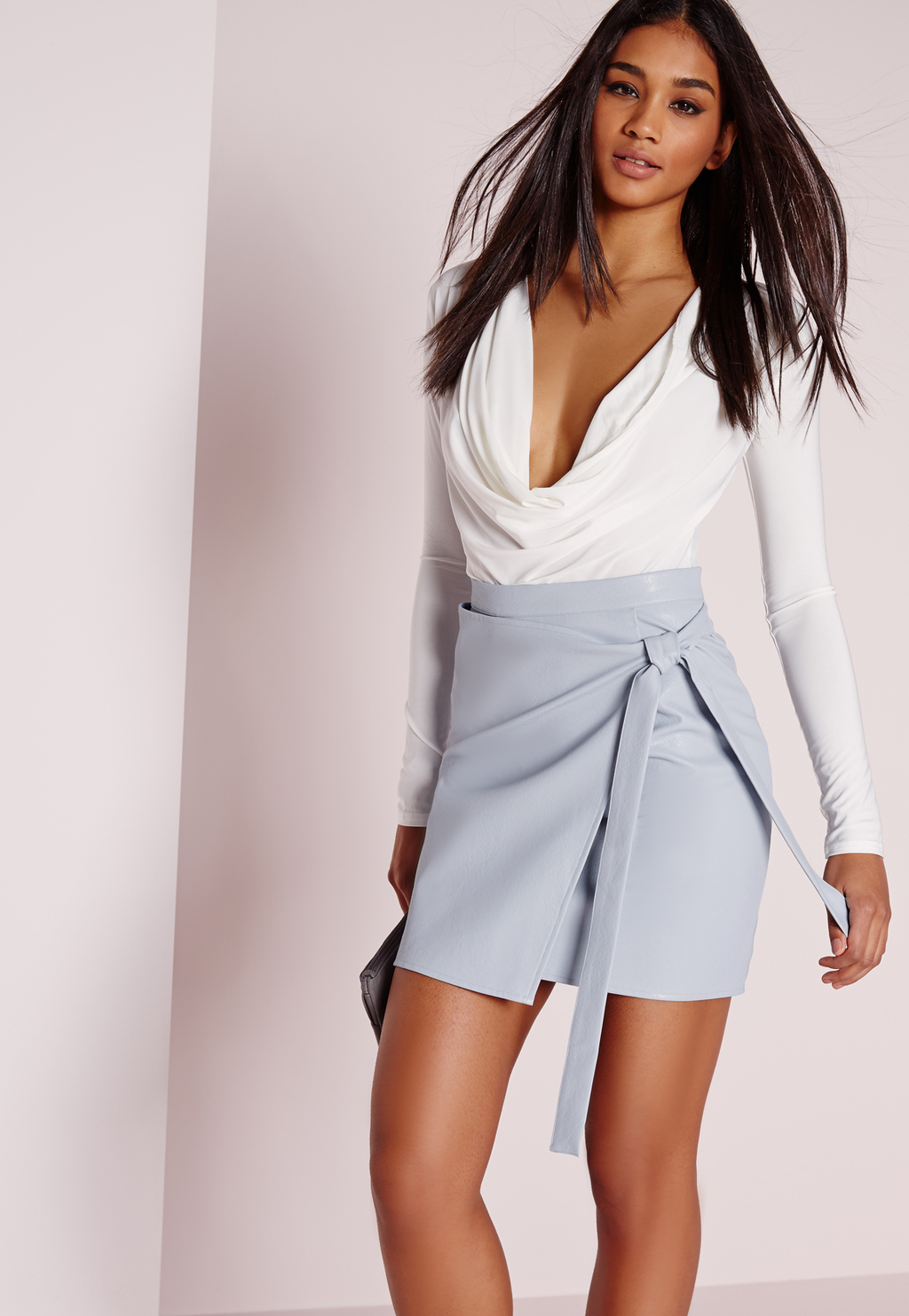 Wrap Front Faux Leather Mini Skirt Blue, Blue - length: mini; pattern: plain; style: wrap/faux wrap; fit: tailored/fitted; waist: high rise; waist detail: belted waist/tie at waist/drawstring; predominant colour: pale blue; occasions: evening; fibres: polyester/polyamide - 100%; texture group: leather; pattern type: fabric; season: s/s 2016; wardrobe: event