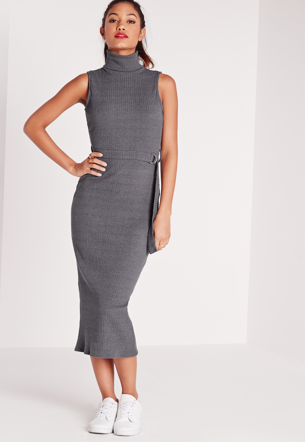 Sleeveless Roll Neck Tie Waist Midi Dress Grey, Grey - length: calf length; fit: tight; pattern: plain; sleeve style: sleeveless; style: bodycon; neckline: roll neck; waist detail: belted waist/tie at waist/drawstring; predominant colour: mid grey; occasions: evening; fibres: viscose/rayon - stretch; sleeve length: sleeveless; texture group: jersey - clingy; pattern type: fabric; season: s/s 2016; wardrobe: event