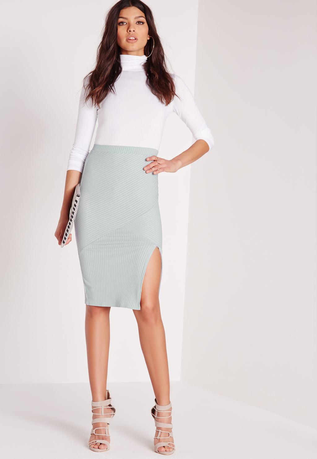 Ribbed Panel Longline Skirt Green, Green - pattern: plain; style: pencil; fit: tight; waist: mid/regular rise; predominant colour: pistachio; occasions: evening; length: on the knee; fibres: polyester/polyamide - stretch; hip detail: slits at hip; texture group: jersey - clingy; pattern type: fabric; season: s/s 2016; wardrobe: event