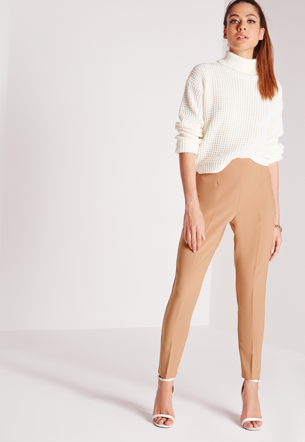 High Waist Cigarette Trousers Camel, Beige - pattern: plain; style: peg leg; waist: high rise; predominant colour: camel; occasions: casual, creative work; length: ankle length; fibres: polyester/polyamide - 100%; texture group: crepes; fit: tapered; pattern type: fabric; season: s/s 2016; wardrobe: basic