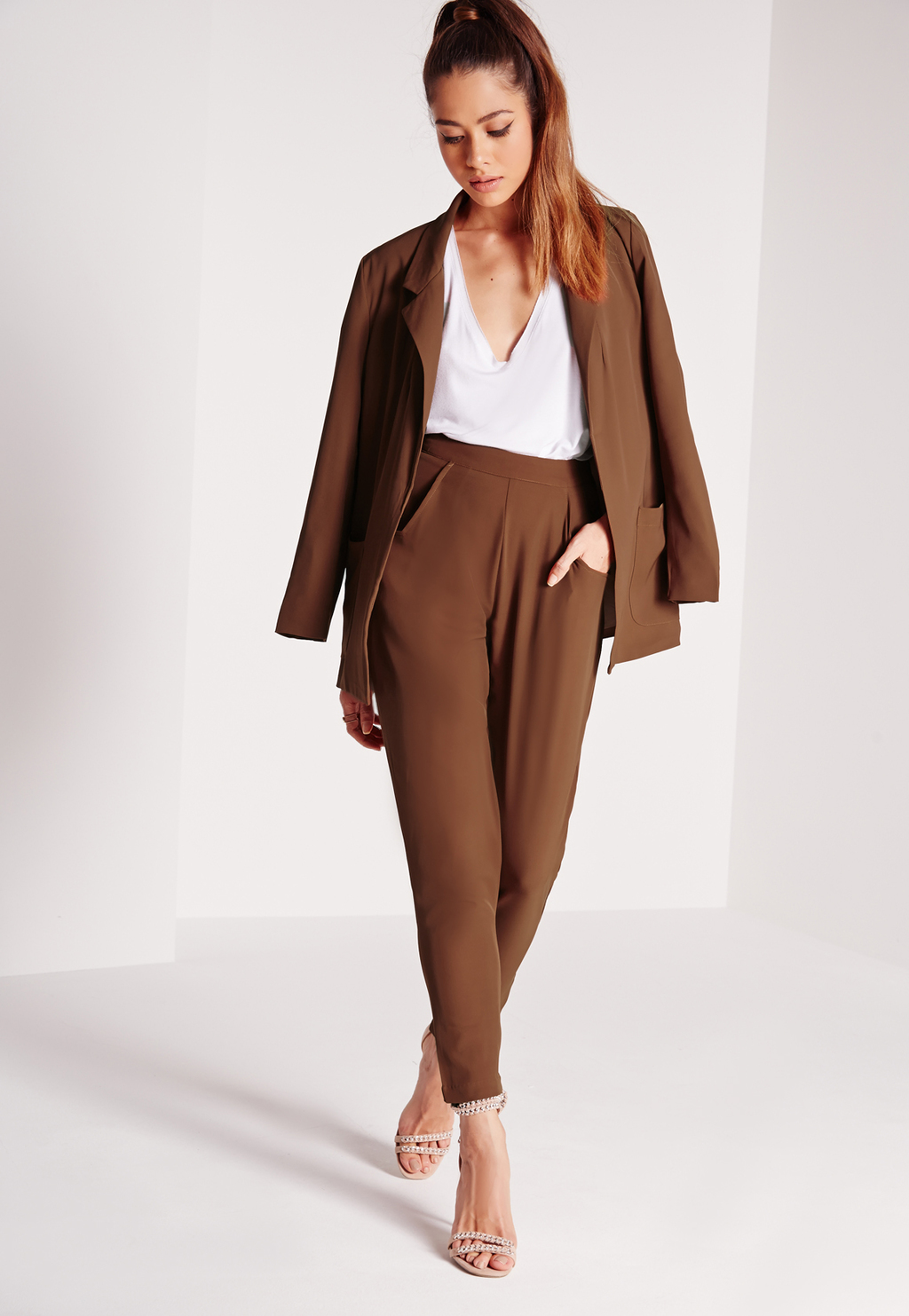 Pocket Detail Cigarette Suit Trousers Brown, Brown - pattern: plain; style: peg leg; waist: high rise; predominant colour: chocolate brown; occasions: evening, creative work; length: ankle length; fibres: polyester/polyamide - 100%; texture group: crepes; fit: tapered; pattern type: fabric; season: s/s 2016; wardrobe: basic