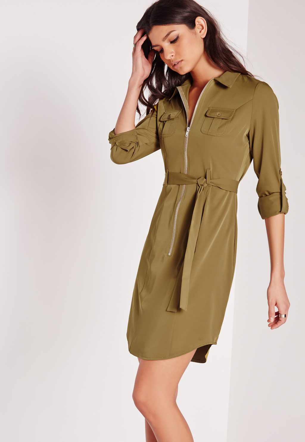 Tall Exclusive Zip Through Mini Shirt Dress Khaki, Beige - style: shirt; neckline: shirt collar/peter pan/zip with opening; pattern: plain; waist detail: belted waist/tie at waist/drawstring; bust detail: subtle bust detail; predominant colour: khaki; occasions: casual; length: just above the knee; fit: body skimming; fibres: viscose/rayon - 100%; sleeve length: 3/4 length; sleeve style: standard; pattern type: fabric; texture group: other - light to midweight; embellishment: zips; season: s/s 2016; wardrobe: highlight; embellishment location: bust