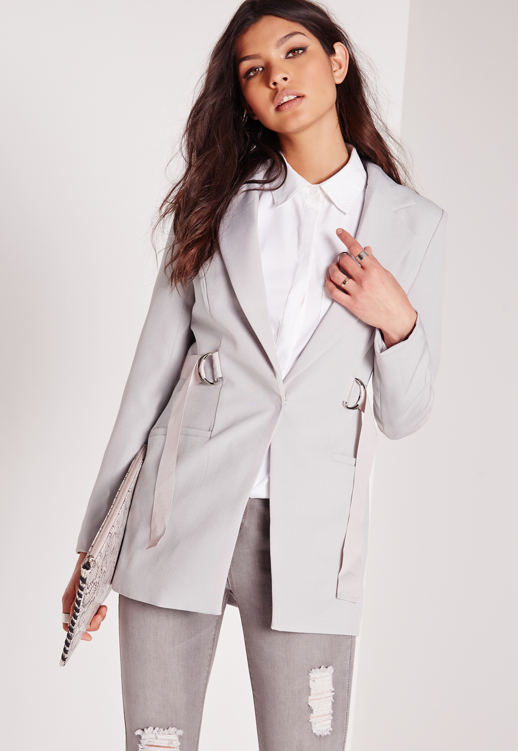 D Ring Waist Tailored Blazer Grey, Grey - pattern: plain; style: single breasted blazer; length: below the bottom; collar: standard lapel/rever collar; predominant colour: light grey; fit: tailored/fitted; fibres: polyester/polyamide - 100%; sleeve length: long sleeve; sleeve style: standard; collar break: low/open; pattern type: fabric; texture group: other - light to midweight; occasions: creative work; season: s/s 2016