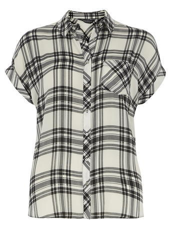 Womens Ivory Check Shortsleeve Shirt White - neckline: shirt collar/peter pan/zip with opening; pattern: checked/gingham; style: shirt; predominant colour: ivory/cream; secondary colour: black; occasions: casual; length: standard; fibres: polyester/polyamide - 100%; fit: body skimming; sleeve length: short sleeve; sleeve style: standard; texture group: sheer fabrics/chiffon/organza etc.; pattern type: fabric; pattern size: big & busy (top); multicoloured: multicoloured; season: s/s 2016; wardrobe: highlight