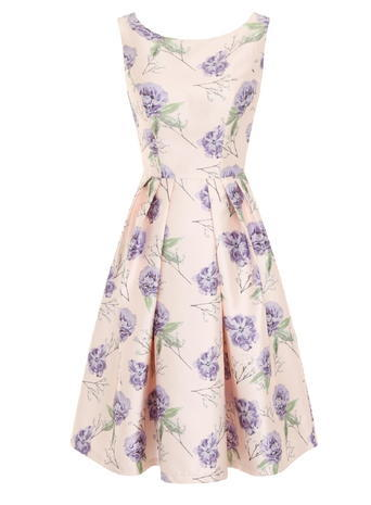 Womens **Chi Chi London Floral Print Midi Dress Pink - neckline: round neck; sleeve style: sleeveless; style: full skirt; predominant colour: blush; secondary colour: lilac; occasions: evening; length: on the knee; fit: fitted at waist & bust; fibres: polyester/polyamide - 100%; sleeve length: sleeveless; pattern type: fabric; pattern: florals; texture group: other - light to midweight; multicoloured: multicoloured; season: s/s 2016
