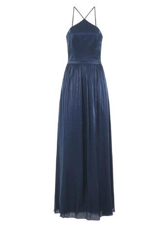 Womens **Chi Chi London Halterneck Maxi Dress Blue - pattern: plain; sleeve style: sleeveless; style: maxi dress; back detail: back revealing; predominant colour: navy; occasions: evening; length: floor length; fit: body skimming; fibres: polyester/polyamide - 100%; hip detail: subtle/flattering hip detail; sleeve length: sleeveless; texture group: sheer fabrics/chiffon/organza etc.; pattern type: fabric; season: s/s 2016; neckline: high halter neck; wardrobe: event
