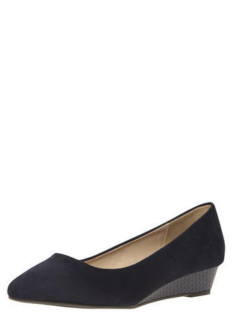 Womens Wide Fit Navy 'womble' Wedges Blue - predominant colour: black; occasions: casual, work, creative work; material: suede; heel height: mid; heel: wedge; toe: pointed toe; style: courts; finish: plain; pattern: plain; season: s/s 2016; wardrobe: investment