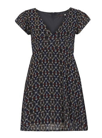 Womens **Tenki Blue Cap Sleeve Dress Blue - style: empire line; length: mid thigh; neckline: v-neck; fit: empire; predominant colour: navy; secondary colour: stone; occasions: evening; fibres: polyester/polyamide - 100%; sleeve length: short sleeve; sleeve style: standard; pattern type: fabric; pattern size: standard; pattern: patterned/print; texture group: other - light to midweight; season: s/s 2016; wardrobe: event