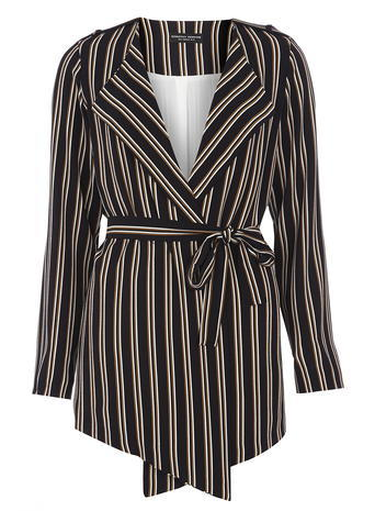 Womens Navy Stripe Tie Waist Jacket Blue - pattern: vertical stripes; style: belted jacket; collar: standard lapel/rever collar; predominant colour: navy; secondary colour: primrose yellow; occasions: casual; length: standard; fit: tailored/fitted; fibres: polyester/polyamide - stretch; waist detail: belted waist/tie at waist/drawstring; sleeve length: long sleeve; sleeve style: standard; collar break: medium; pattern type: fabric; pattern size: standard; texture group: woven light midweight; multicoloured: multicoloured; season: s/s 2016; wardrobe: highlight