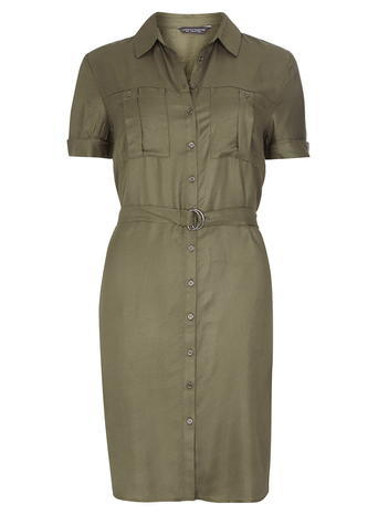Womens **Tall Khaki Tie Waist Utility Dress Khaki - style: shirt; neckline: shirt collar/peter pan/zip with opening; pattern: plain; waist detail: belted waist/tie at waist/drawstring; predominant colour: khaki; length: on the knee; fit: body skimming; fibres: viscose/rayon - 100%; sleeve length: short sleeve; sleeve style: standard; texture group: cotton feel fabrics; pattern type: fabric; occasions: creative work; season: s/s 2016