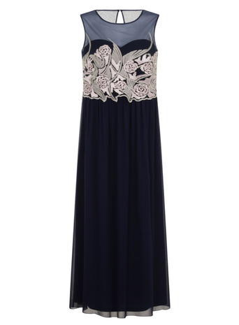 Womens **Little Mistress Curve Navy Embroidered Maxi Dress Blue - sleeve style: sleeveless; style: maxi dress; length: ankle length; secondary colour: ivory/cream; predominant colour: navy; occasions: evening; fit: body skimming; fibres: polyester/polyamide - 100%; neckline: crew; sleeve length: sleeveless; pattern type: fabric; pattern: patterned/print; texture group: other - light to midweight; embellishment: embroidered; multicoloured: multicoloured; season: s/s 2016