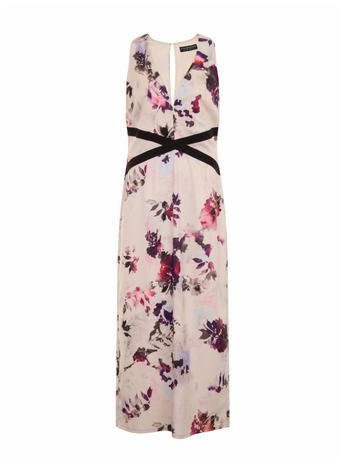 Womens *Little Mistress Curve Petal Print V Neck Maxi Dress Multi Colour - neckline: v-neck; sleeve style: sleeveless; style: maxi dress; predominant colour: blush; secondary colour: aubergine; length: floor length; fit: body skimming; fibres: polyester/polyamide - 100%; occasions: occasion; sleeve length: sleeveless; pattern type: fabric; pattern: florals; texture group: other - light to midweight; multicoloured: multicoloured; season: s/s 2016; wardrobe: event; embellishment location: waist