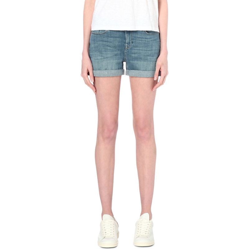 Brompton Mid Rise Denim Shorts, Women's, Blue - pattern: plain; pocket detail: traditional 5 pocket; waist: mid/regular rise; predominant colour: denim; occasions: casual; fibres: cotton - stretch; texture group: denim; pattern type: fabric; season: s/s 2016; style: denim; length: short shorts; fit: slim leg