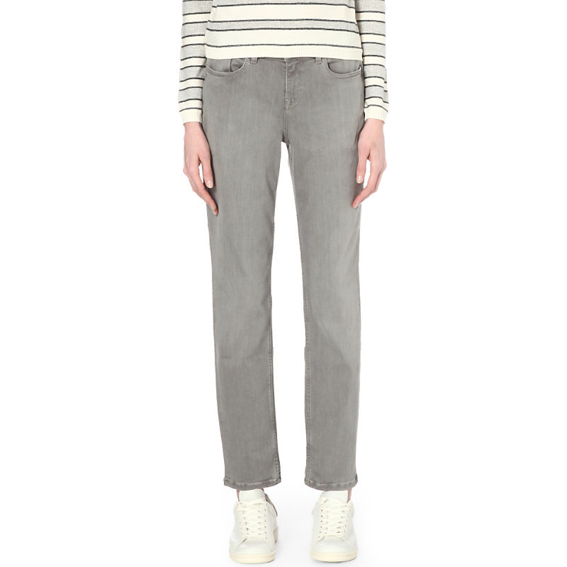 Brompton Slim Fit Mid Rise Jeans, Women's, Pale Grey - style: straight leg; length: standard; pattern: plain; pocket detail: traditional 5 pocket; waist: mid/regular rise; predominant colour: mid grey; occasions: casual; fibres: cotton - stretch; jeans detail: shading down centre of thigh; texture group: denim; pattern type: fabric; season: s/s 2016; wardrobe: highlight