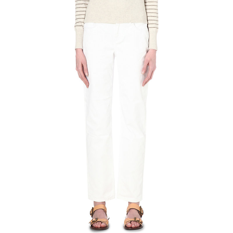 Brompton Straight Mid Rise Jeans, Women's, White - style: straight leg; length: standard; pattern: plain; pocket detail: traditional 5 pocket; waist: mid/regular rise; predominant colour: white; occasions: casual; fibres: cotton - stretch; texture group: denim; pattern type: fabric; season: s/s 2016; wardrobe: highlight