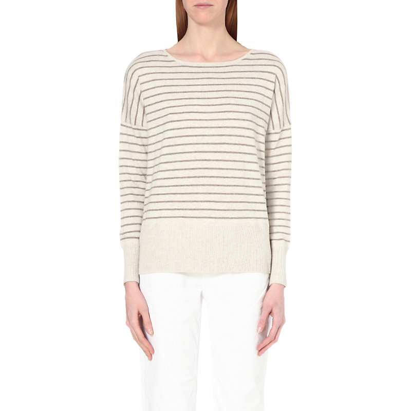 Striped Cotton Blend Jumper, Women's, Biscuit - neckline: round neck; sleeve style: dolman/batwing; pattern: horizontal stripes; style: standard; predominant colour: ivory/cream; occasions: casual, work, creative work; length: standard; fibres: cotton - mix; fit: standard fit; sleeve length: long sleeve; texture group: knits/crochet; pattern type: knitted - fine stitch; pattern size: big & busy (top); season: s/s 2016; wardrobe: highlight