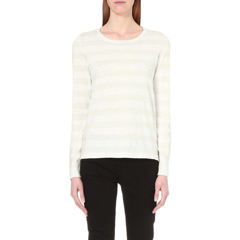 Metallic Knit Cotton Blend Jumper, Women's, Pale Grey Marl - neckline: round neck; pattern: horizontal stripes; style: standard; predominant colour: light grey; occasions: casual, work, creative work; length: standard; fibres: cotton - mix; fit: standard fit; sleeve length: long sleeve; sleeve style: standard; texture group: knits/crochet; pattern type: knitted - fine stitch; pattern size: standard; season: s/s 2016; wardrobe: highlight