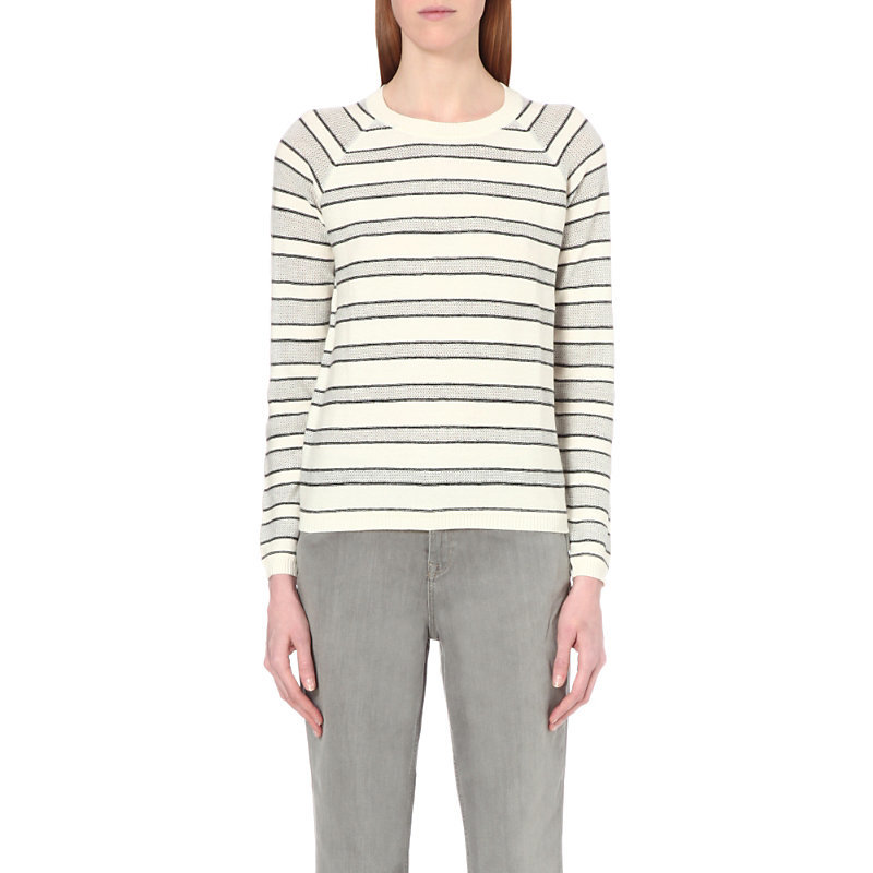 Mesh Stripe Cotton Blend Jumper, Women's, Porcelain - neckline: round neck; sleeve style: raglan; pattern: horizontal stripes; style: standard; secondary colour: ivory/cream; predominant colour: light grey; occasions: casual, creative work; length: standard; fibres: cotton - mix; fit: standard fit; sleeve length: long sleeve; texture group: knits/crochet; pattern type: knitted - fine stitch; pattern size: big & busy (top); multicoloured: multicoloured; season: s/s 2016; wardrobe: highlight