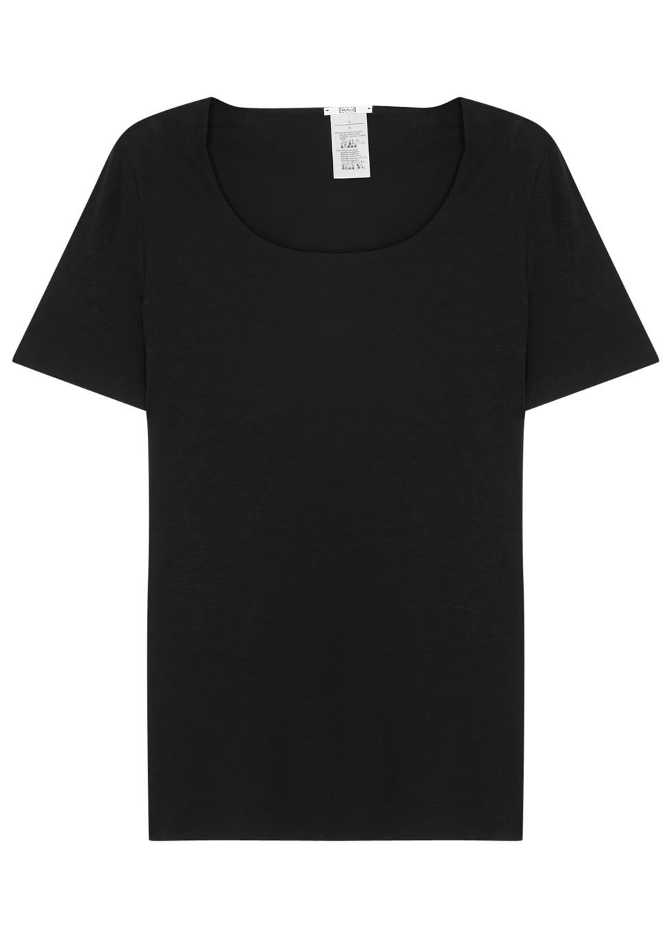 Pure Shirt Black Jersey T Shirt - neckline: round neck; pattern: plain; style: t-shirt; predominant colour: black; occasions: casual; length: standard; fibres: polyester/polyamide - stretch; fit: body skimming; sleeve length: short sleeve; sleeve style: standard; pattern type: fabric; texture group: jersey - stretchy/drapey; season: s/s 2016; wardrobe: basic