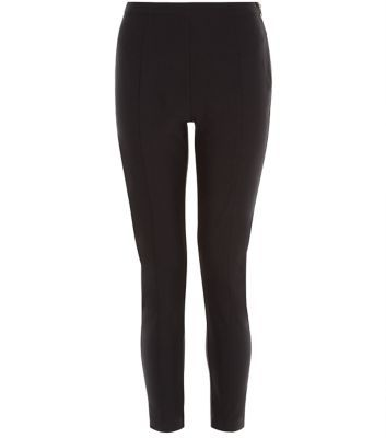 Black Bengaline Slim Leg Cropped Trousers - length: standard; pattern: plain; waist: high rise; predominant colour: black; occasions: casual, creative work; fibres: viscose/rayon - stretch; fit: slim leg; pattern type: fabric; texture group: woven light midweight; style: standard; season: s/s 2016; wardrobe: basic
