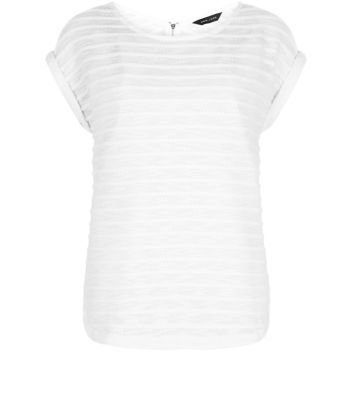 White Fine Knit Stripe Zip Back Roll Sleeve T Shirt - pattern: horizontal stripes; style: t-shirt; predominant colour: white; occasions: casual; length: standard; fibres: polyester/polyamide - mix; fit: body skimming; neckline: crew; sleeve length: short sleeve; sleeve style: standard; texture group: knits/crochet; pattern type: fabric; season: s/s 2016