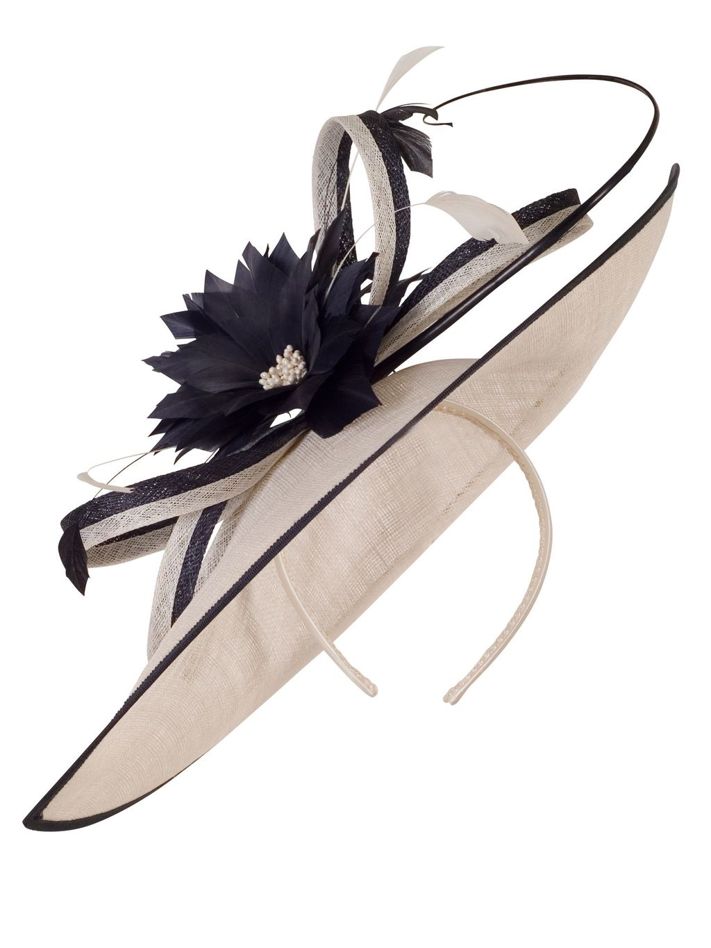 Medium Sinamay Feather Flowers Hatinator, Multi Coloured - predominant colour: stone; secondary colour: black; occasions: occasion; type of pattern: light; style: fascinator; size: large; material: macrame/raffia/straw; pattern: colourblock; embellishment: corsage; season: s/s 2016; wardrobe: event