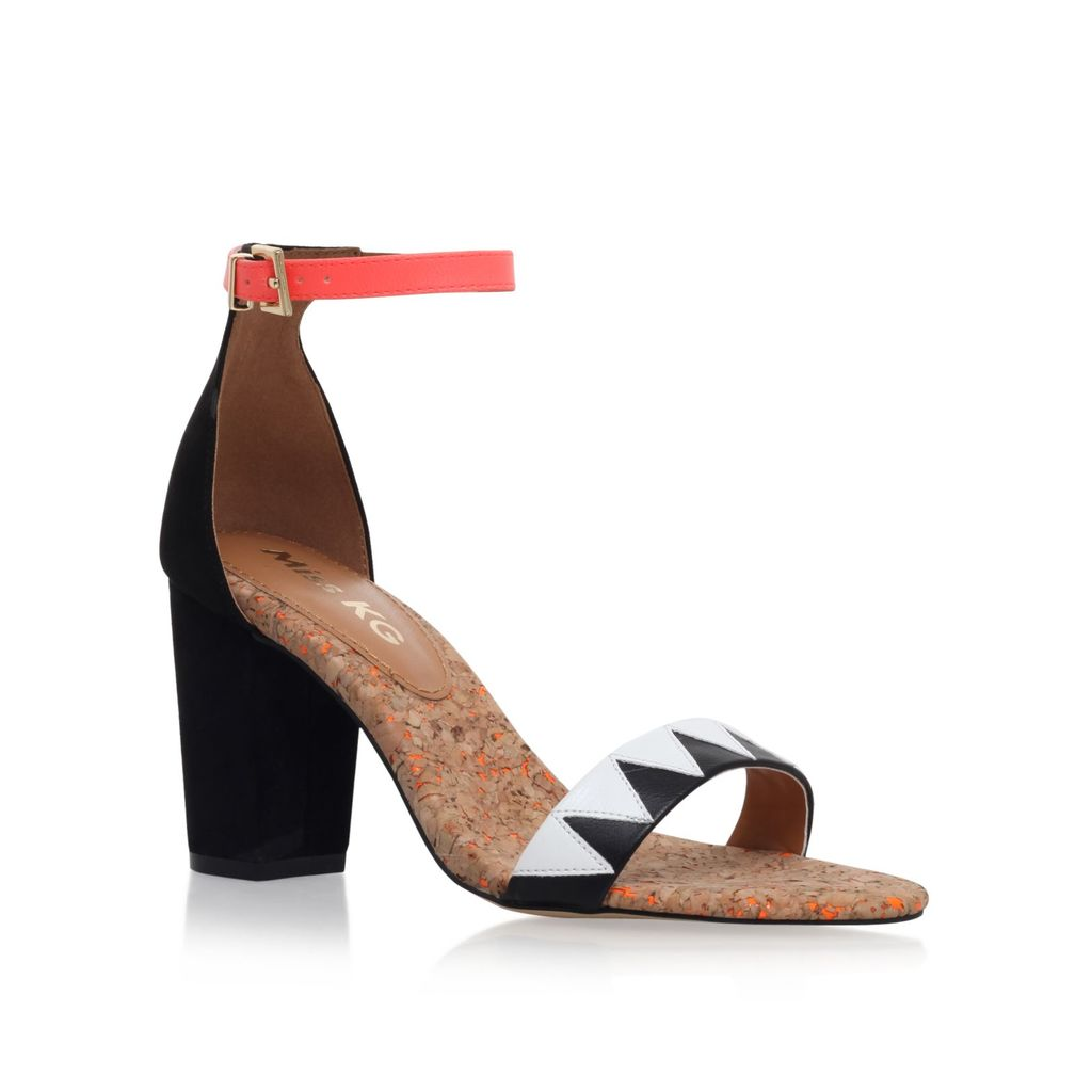 Faye 2 Mid Heel Sandals, Black - secondary colour: coral; predominant colour: black; occasions: evening, occasion; material: leather; heel height: high; ankle detail: ankle strap; heel: block; toe: open toe/peeptoe; style: strappy; finish: plain; pattern: colourblock; season: s/s 2016; wardrobe: event