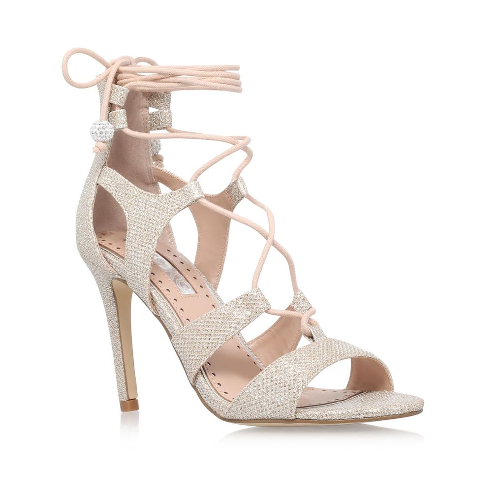 Gillian High Heel Sandals, Silver - predominant colour: silver; occasions: evening, occasion; material: faux leather; heel height: high; embellishment: glitter; ankle detail: ankle tie; heel: stiletto; toe: open toe/peeptoe; style: strappy; finish: plain; pattern: plain; season: s/s 2016