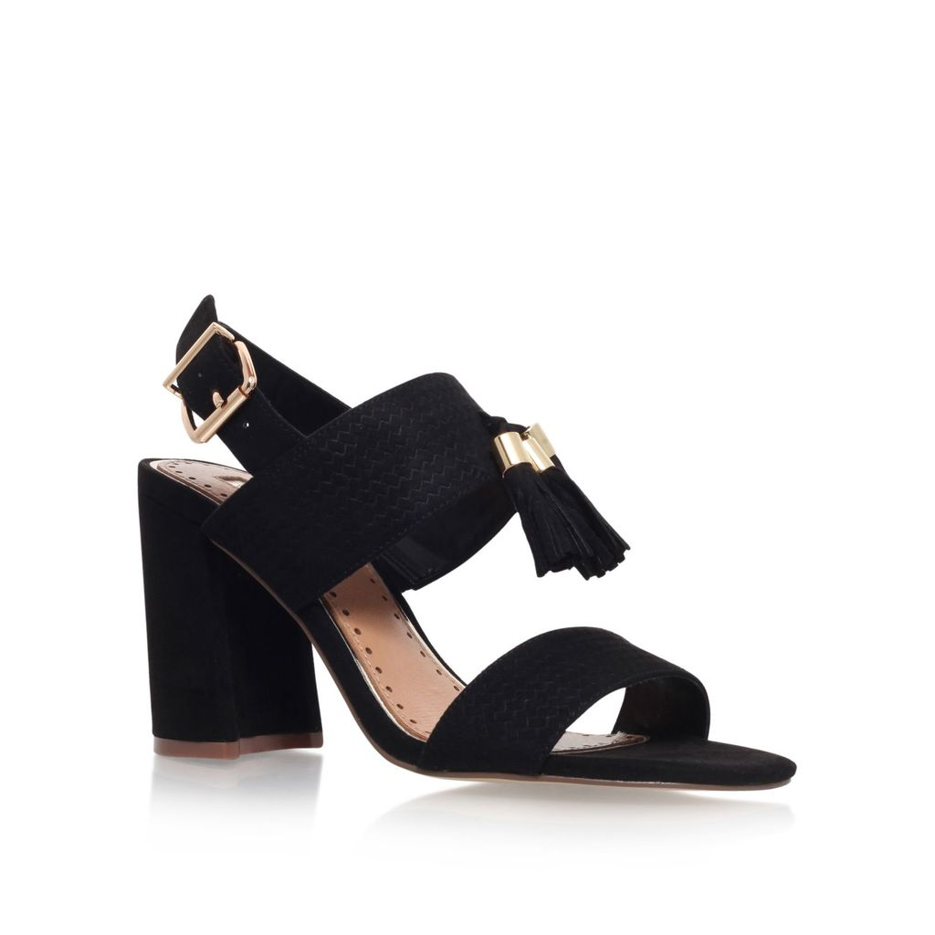 Elaina High Heel Sandals, Black - predominant colour: black; occasions: evening; material: suede; heel height: high; heel: block; toe: open toe/peeptoe; style: standard; finish: plain; pattern: plain; season: s/s 2016; wardrobe: event