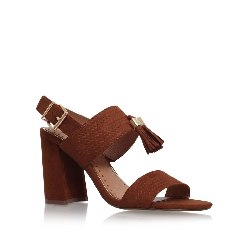 Elaina High Heel Sandals, Tan - predominant colour: tan; occasions: casual, creative work; material: suede; heel height: high; heel: block; toe: open toe/peeptoe; style: standard; finish: plain; pattern: plain; season: s/s 2016