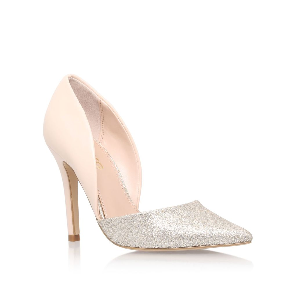 Shannon High Heel Court Shoes, Gold - secondary colour: blush; predominant colour: light grey; occasions: evening, occasion, creative work; material: faux leather; heel height: high; heel: stiletto; toe: pointed toe; style: courts; finish: patent; pattern: colourblock; season: s/s 2016; wardrobe: highlight