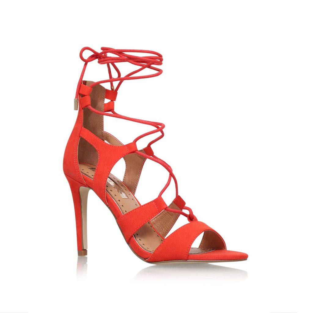 Gillian High Heel Sandals, Red - predominant colour: true red; occasions: evening, occasion; material: leather; heel height: high; ankle detail: ankle tie; heel: stiletto; toe: open toe/peeptoe; style: strappy; finish: plain; pattern: plain; season: s/s 2016; wardrobe: event