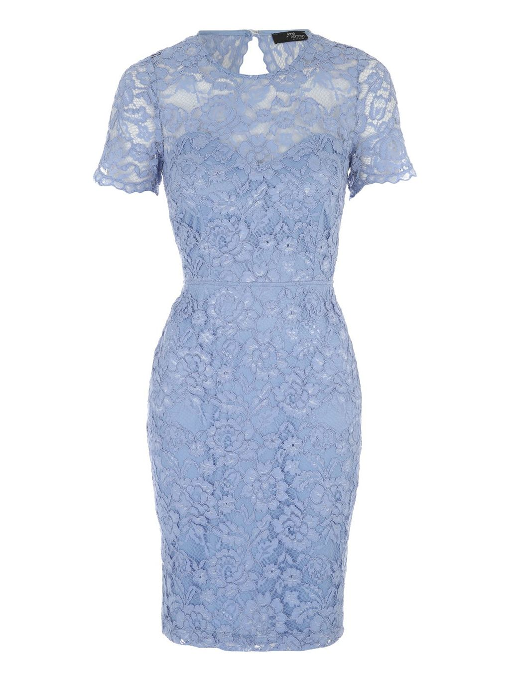 Corded Lace Short Sleeve Dress, Blue - fit: tight; style: bodycon; predominant colour: pale blue; occasions: evening; length: just above the knee; neckline: crew; sleeve length: short sleeve; sleeve style: standard; texture group: lace; pattern type: fabric; pattern size: standard; pattern: patterned/print; fibres: nylon - stretch; embellishment: lace; season: s/s 2016