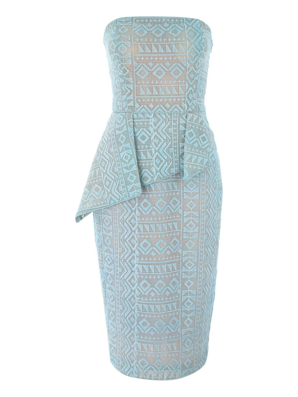 Bonded Lace Peplum Strapless Midi Dress, Aqua - style: shift; neckline: strapless (straight/sweetheart); fit: tailored/fitted; sleeve style: sleeveless; waist detail: peplum waist detail; predominant colour: pale blue; secondary colour: nude; length: on the knee; fibres: polyester/polyamide - 100%; occasions: occasion; sleeve length: sleeveless; texture group: lace; pattern type: fabric; pattern: patterned/print; embellishment: lace; season: s/s 2016; wardrobe: event; embellishment location: pattern