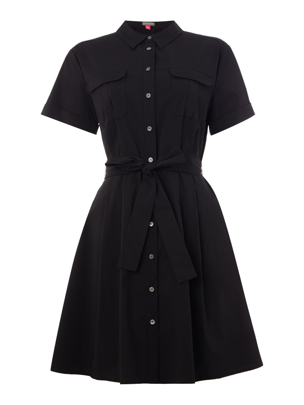 Short Sleeve Belted Shirt Dress, Black - style: shirt; neckline: shirt collar/peter pan/zip with opening; pattern: plain; predominant colour: black; occasions: casual, creative work; length: just above the knee; fit: fitted at waist & bust; fibres: cotton - stretch; sleeve length: short sleeve; sleeve style: standard; pattern type: fabric; texture group: woven light midweight; season: s/s 2016; wardrobe: basic