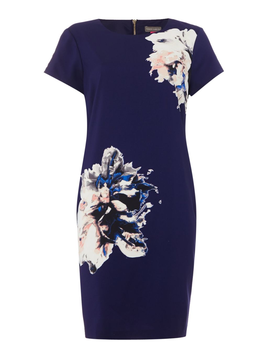 Cap Sleeve Floral Print Shift Dress, Navy - style: shift; secondary colour: ivory/cream; predominant colour: navy; occasions: evening; length: just above the knee; fit: body skimming; fibres: polyester/polyamide - stretch; neckline: crew; sleeve length: short sleeve; sleeve style: standard; pattern type: fabric; pattern: florals; texture group: other - light to midweight; season: s/s 2016; wardrobe: event