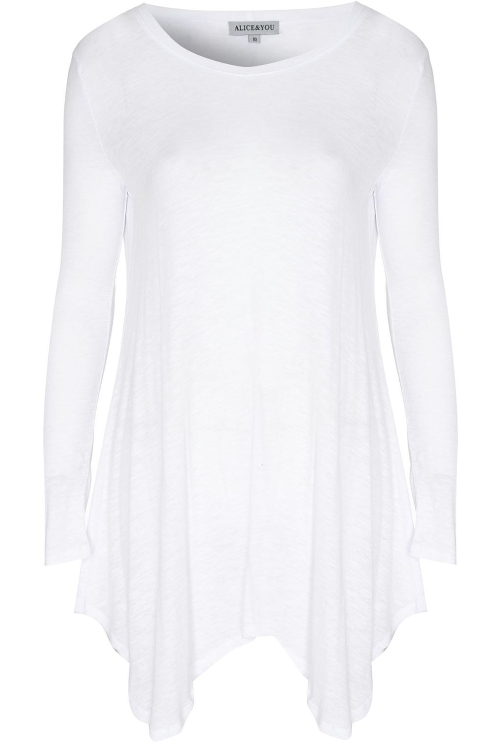 Asymmetric Swing Dress, White - length: mid thigh; neckline: round neck; pattern: plain; predominant colour: white; occasions: casual; fit: body skimming; style: asymmetric (hem); fibres: cotton - mix; sleeve length: long sleeve; sleeve style: standard; pattern type: fabric; texture group: jersey - stretchy/drapey; season: s/s 2016; wardrobe: basic