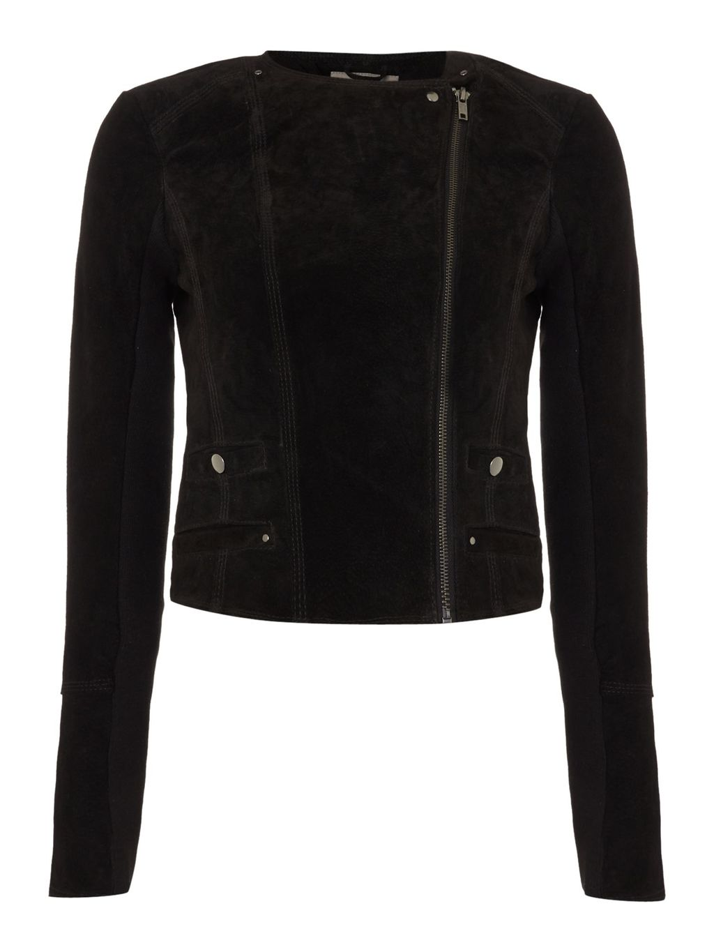 Long Sleeve Suede Jacket, Black - pattern: plain; style: biker; collar: asymmetric biker; fit: slim fit; predominant colour: black; occasions: casual, creative work; length: standard; fibres: leather - 100%; sleeve length: long sleeve; sleeve style: standard; collar break: high/illusion of break when open; pattern type: fabric; texture group: suede; season: s/s 2016; wardrobe: basic